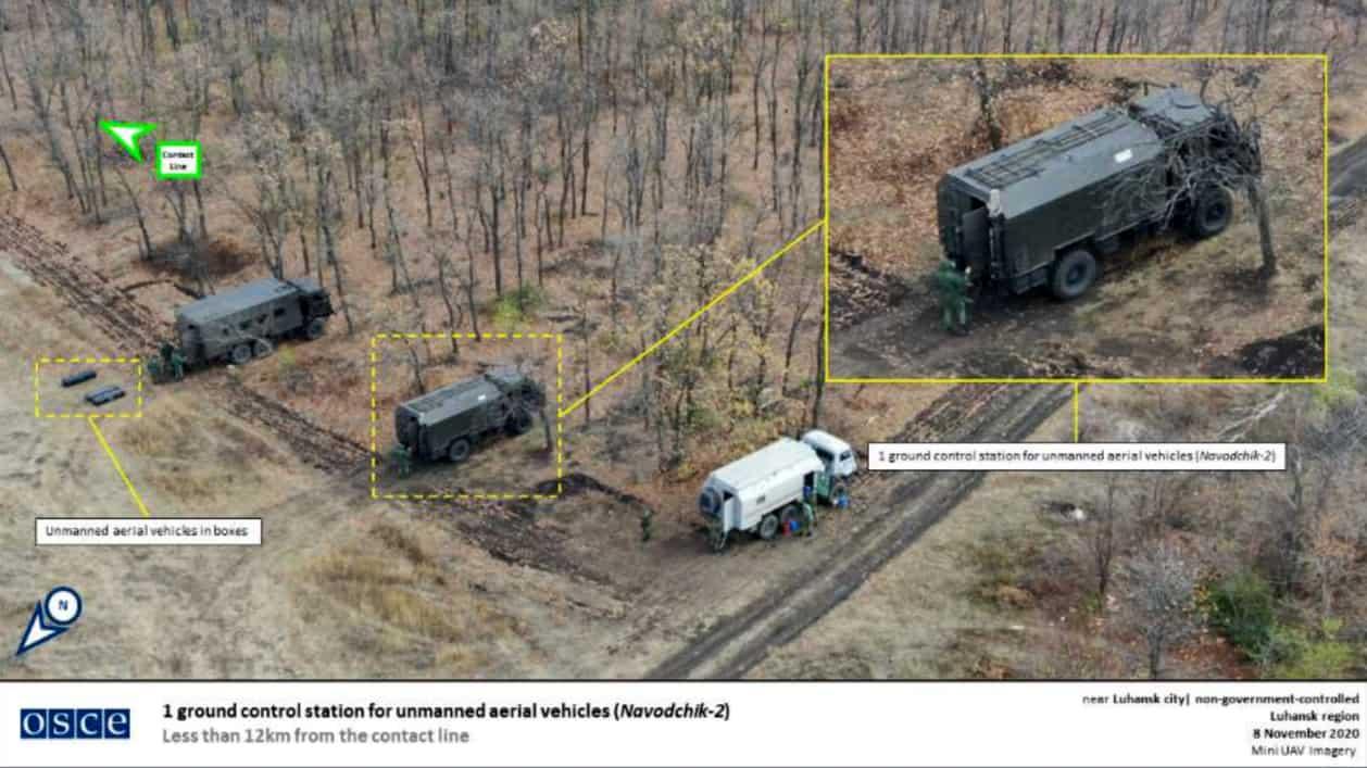 Російський комплекс «Наводчик-2» на фото з БПЛА ОБСЄ. Листопад 2020