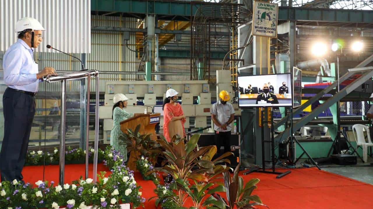 Церемонія різання сталі для корабля. Фото: Cochin Shipyard Limited