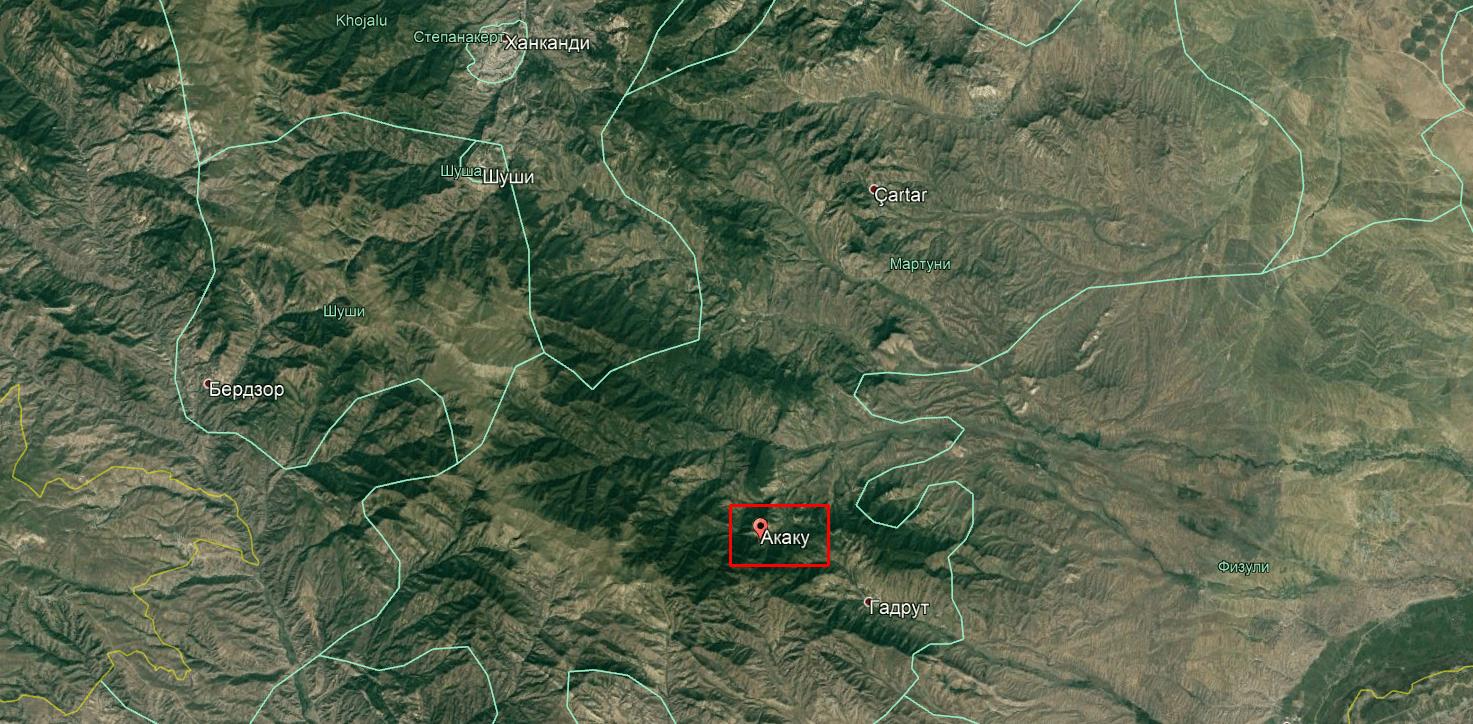 У Нагірному Карабасі зіткнувся загін військових Азербайджану з загоном вірмен. Село Акаку на мапі