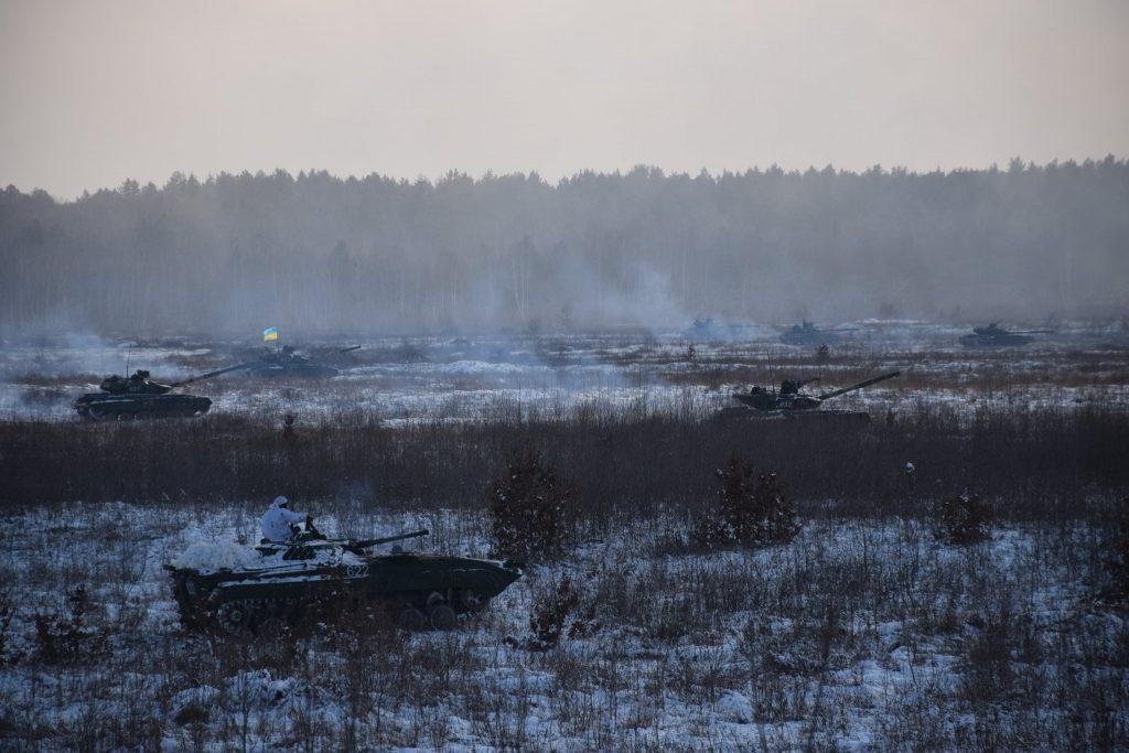 БМП-1 та танки Т-64БВ 1 ОТБр. Січень 2021. Фото: ЗСУ