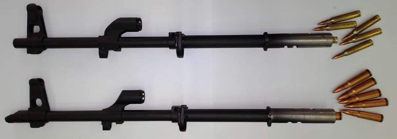 """На фото два змінних стволи МП """"КалашНаш"""" під 5,56х45 (223 rem) та 7,62х39."""