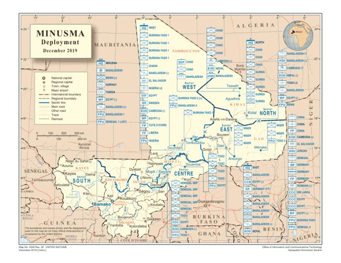 Карта дислокації підрозділів ООН, що беруть участь в операції MINUSMA
