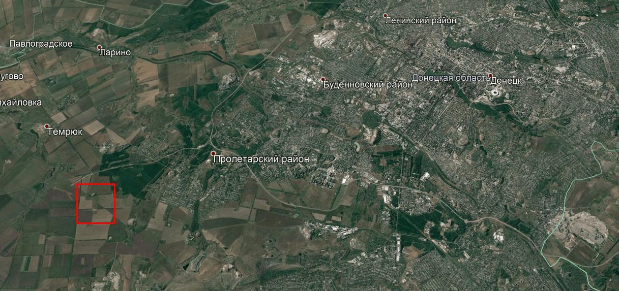 Розташування полігону окупаційних сил Росії в районі Донецька