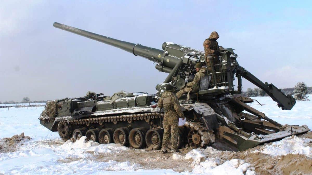 203-мм 2С7 «Піон». Тренування 43 ОАБрВП ЗСУ. Січень 2021. Фото: АрміяInform