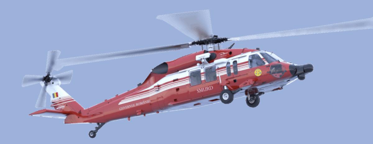 Художнє оформлення вертольота S-70M Black Hawk в кольорах служб громадського порядку Румунії
