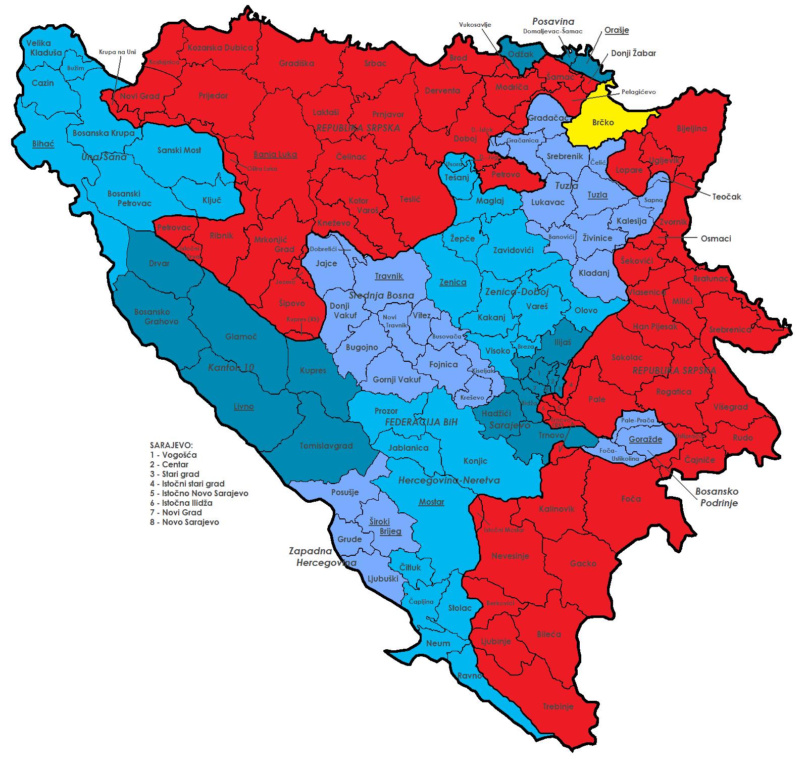Адміністративний поділ Боснії та Герцоговини