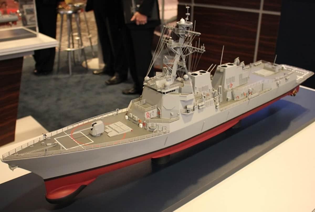 Модель есмінця типу Arleigh Burke у версії Flight III. Фото: navyrecognition.com