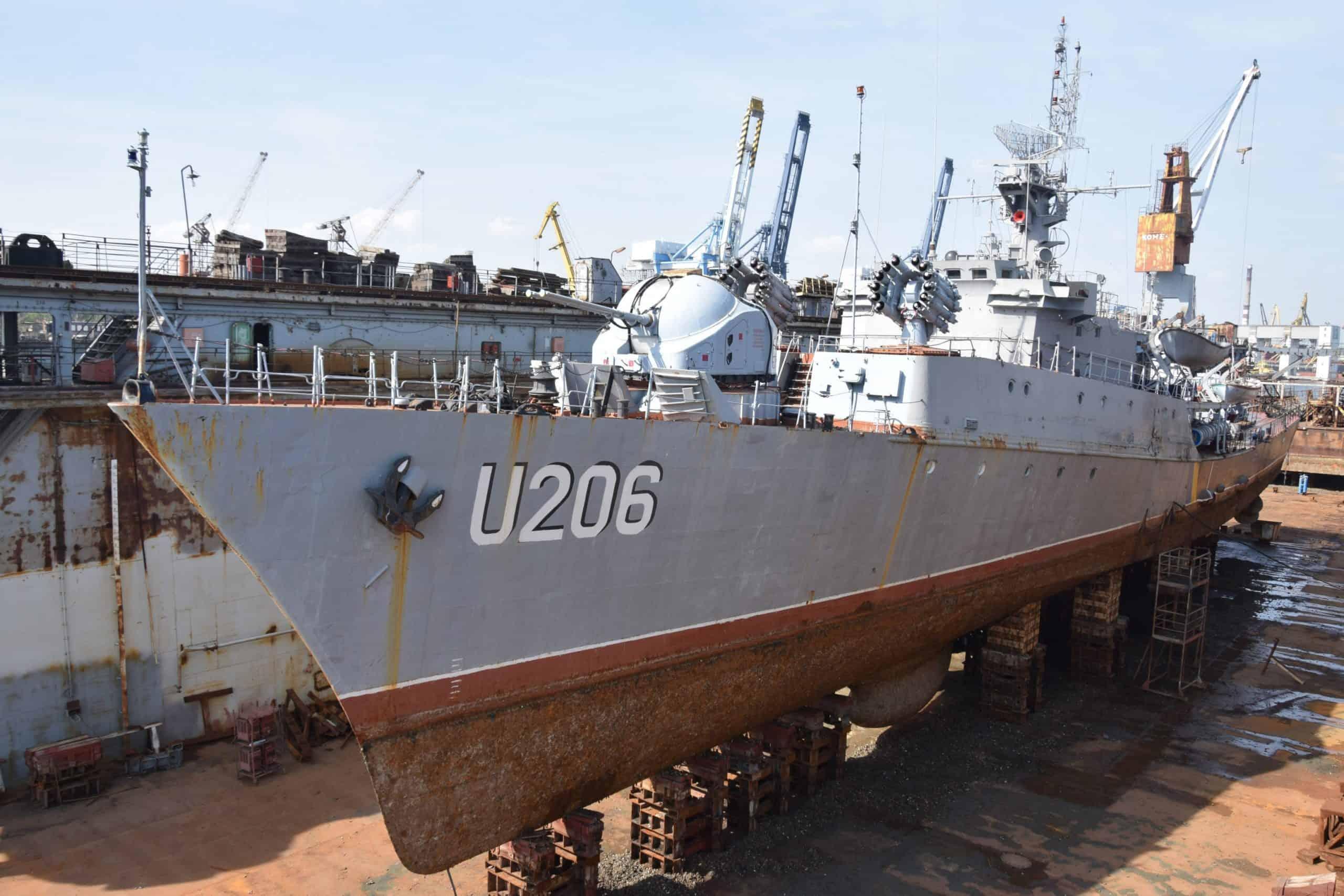 Колишній корабель «Вінниця» у плавучому доці