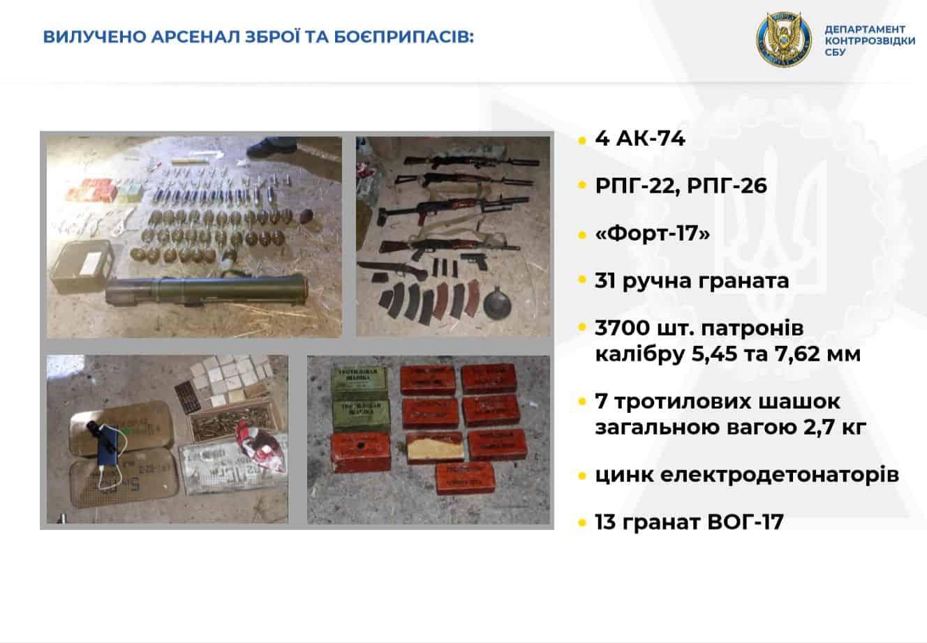Вилучений арсенал зброї та боєприпасів у групи