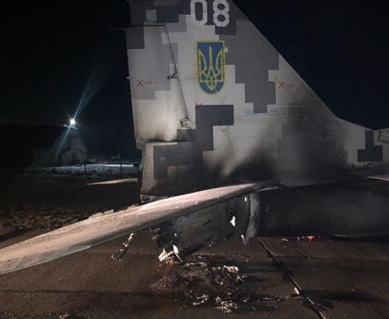 Пошкодження МіГ-29МУ1 у результаті зіткнення з автомобілем