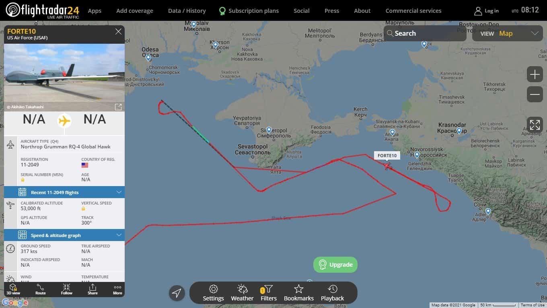 Маршрут польоту БПЛА RQ-4 Global Hawk позивний FORTE10 21 квітня 2021 року