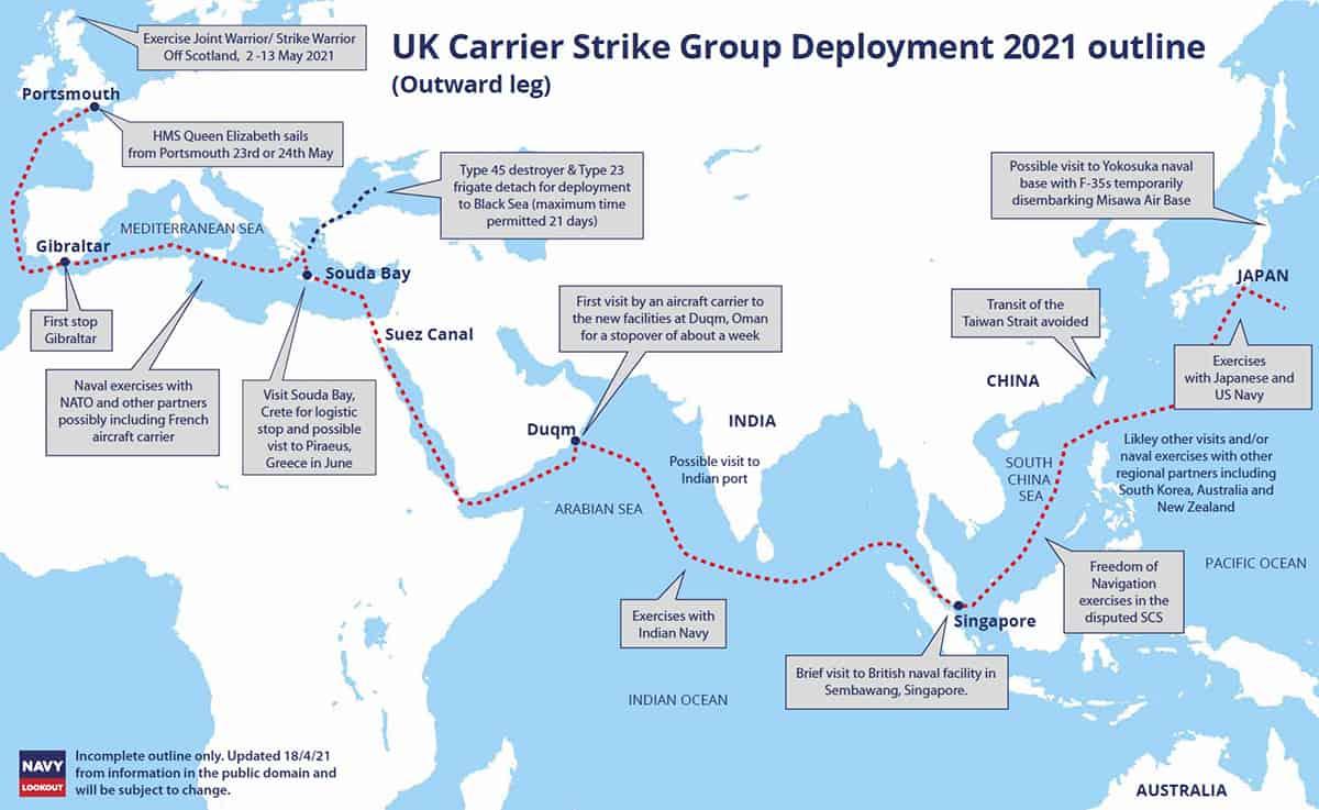Маршрут руху ударної групи кораблів Королівського флоту Великої Британії