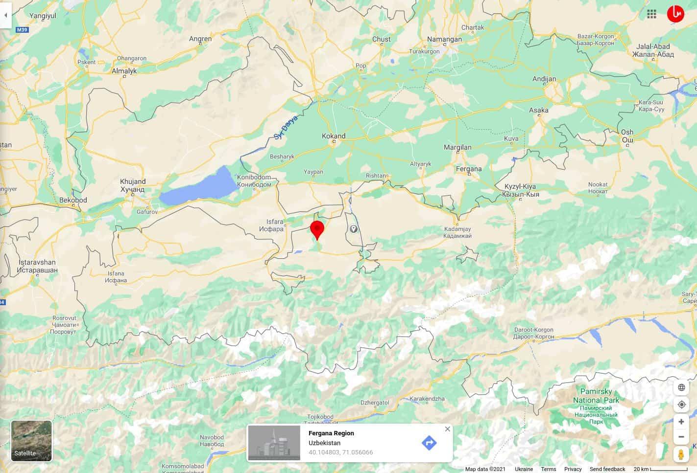 Місце вогневого зіткнення військових Киргизстану та Таджикистану