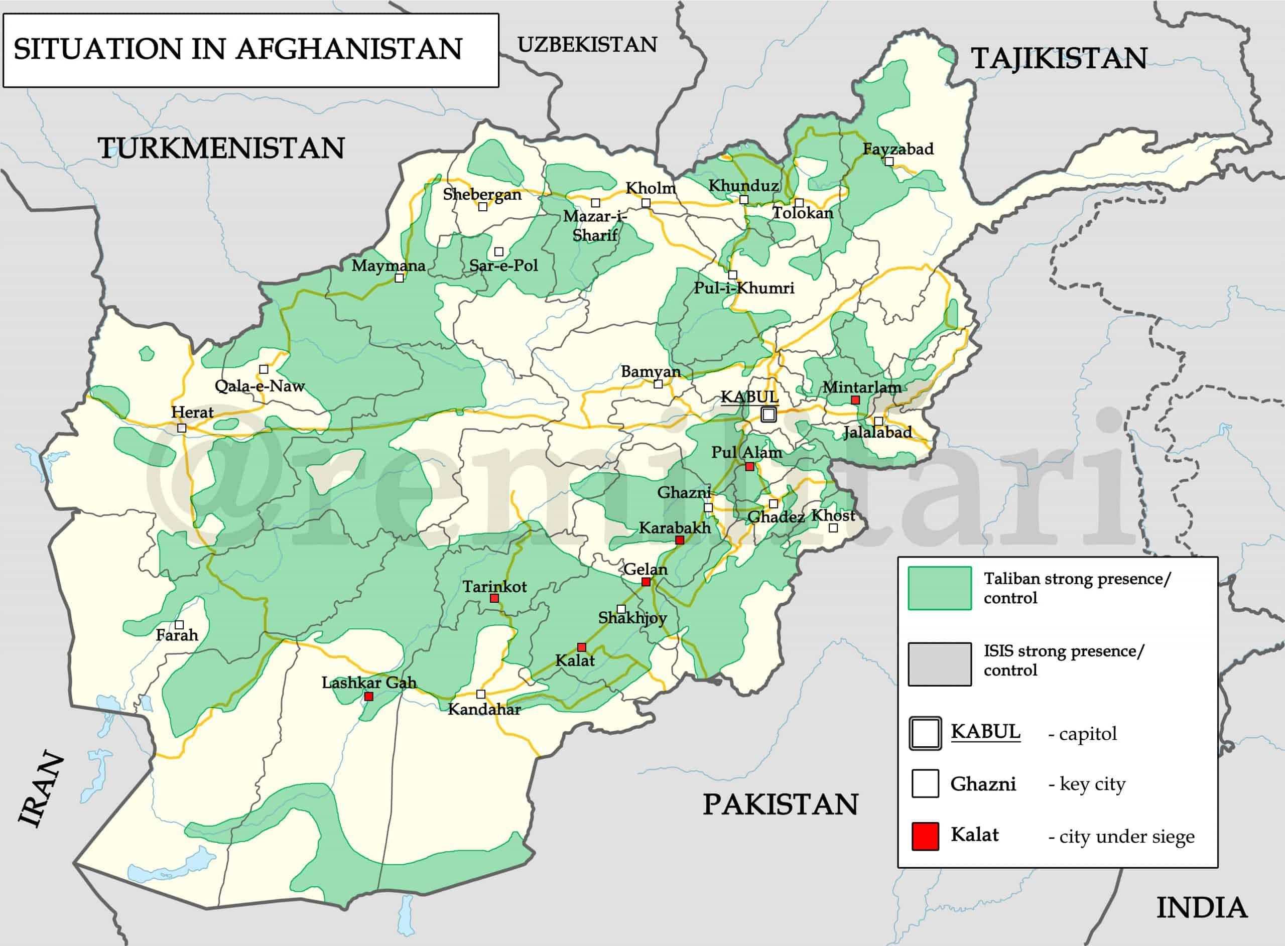 Контроль територій в Афганістані станом на квітень 2021 року