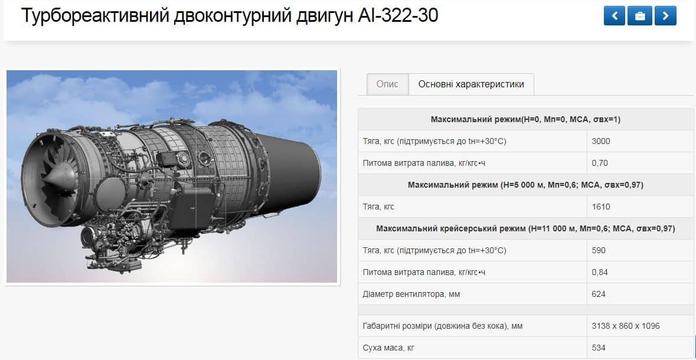 Турбореактивний двоконтурний двигун AI-322-30