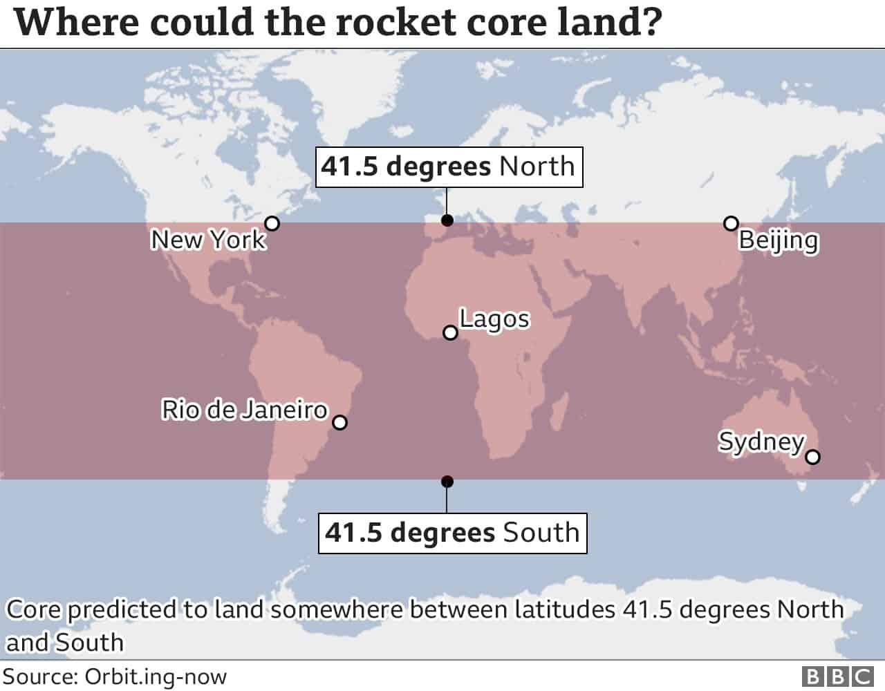 Предполагаемая зона падения китайского ракетоносителя