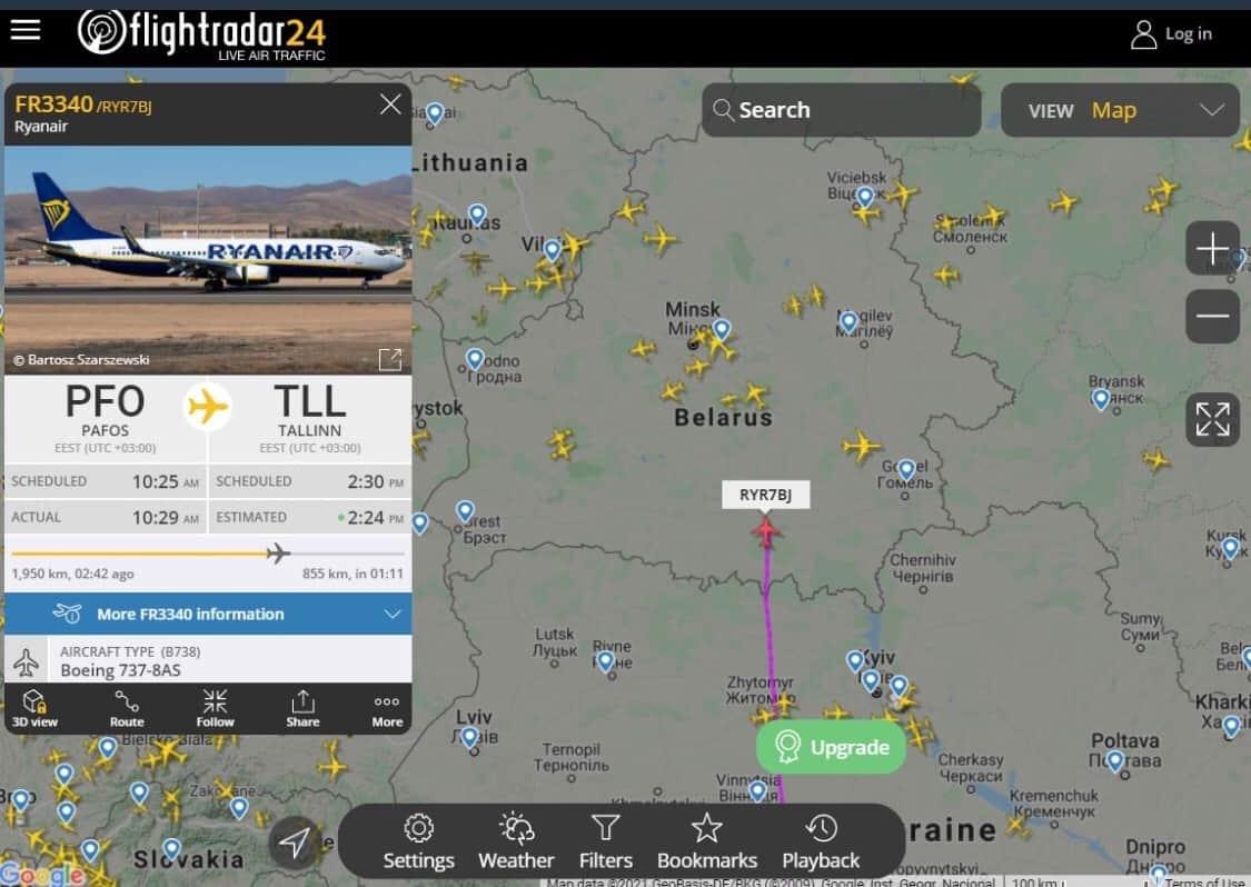 Маршрут літака авіакомпанії Ryanair Пафос-Таллінн над повітряним простором Білорусі