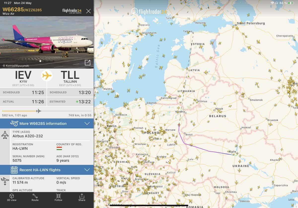 Маршрут польоту літака авіакомпанії Wizz Air з Києва до Таллінна