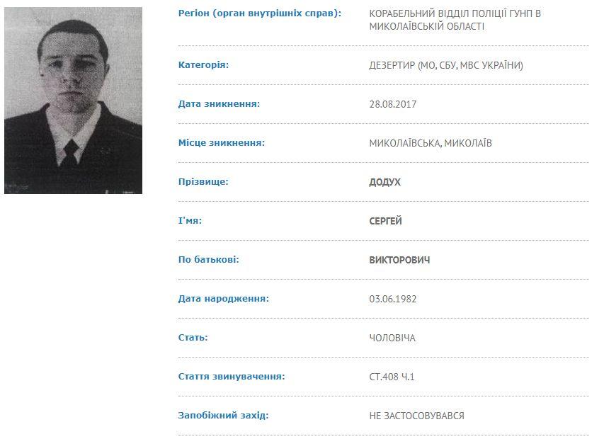 Розшук Сергія Додуха