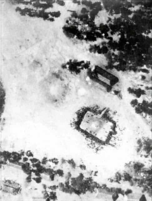 Бійці ЗАНЛА на плацу, фото з літака розвідника, весна 1976