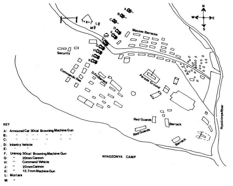 Схема табору і розміщення техніки під час стрільби