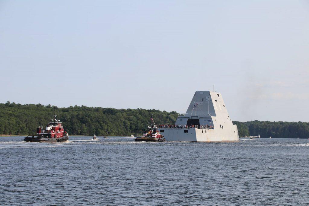 "Есмінець типу Zumwalt (DDG-1002) ""USS Lyndon B. Johnson"". Серпень 2021. Фото: General Dynamics Bath Iron Works"