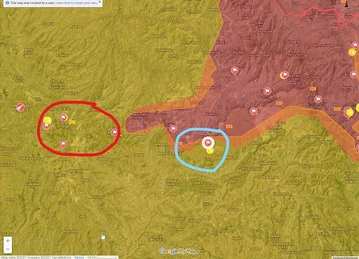 Мапа бойових дій в районі Гасай - Гашена
