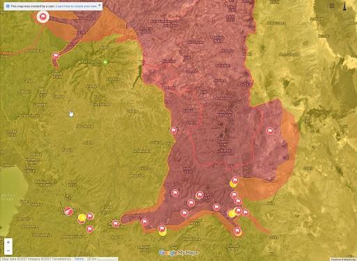 Мапа бойових дій в регіонах Тиграй, Амхара та Афар