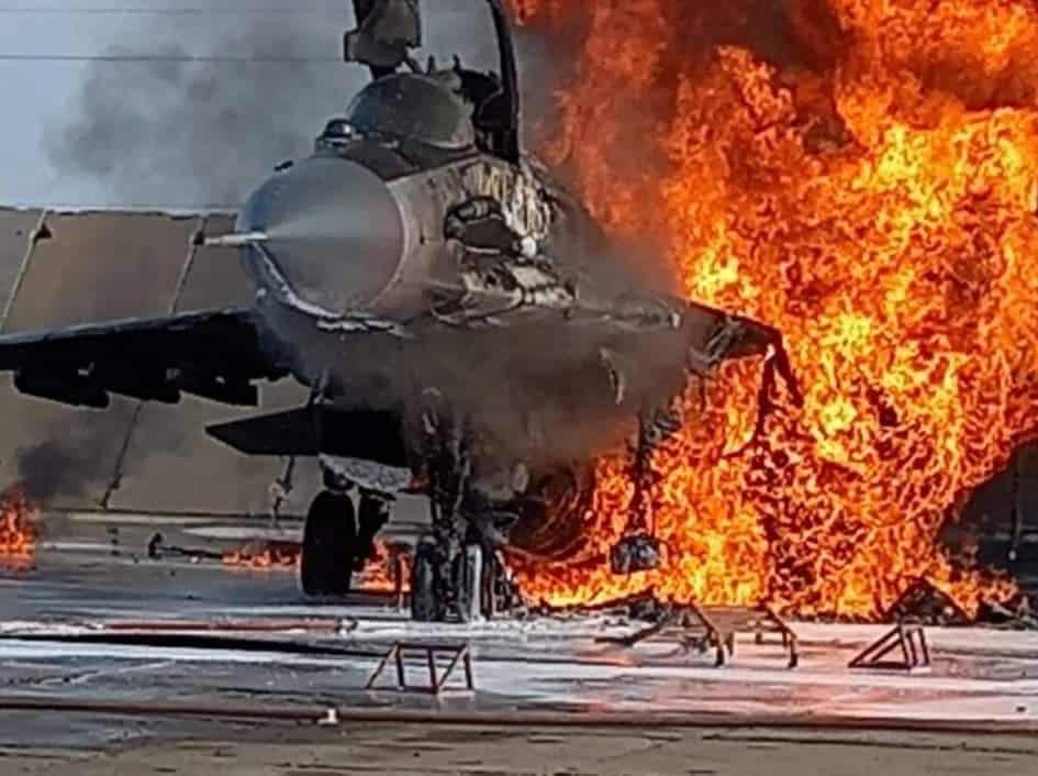 Російський МіГ-29СМТ під час пожежі