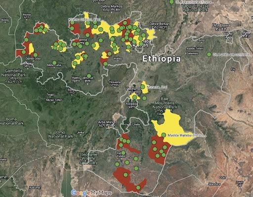 мапа бойових дій в штаті Оромія (червоні зони - контроль OLA, жовті - йдуть бої)