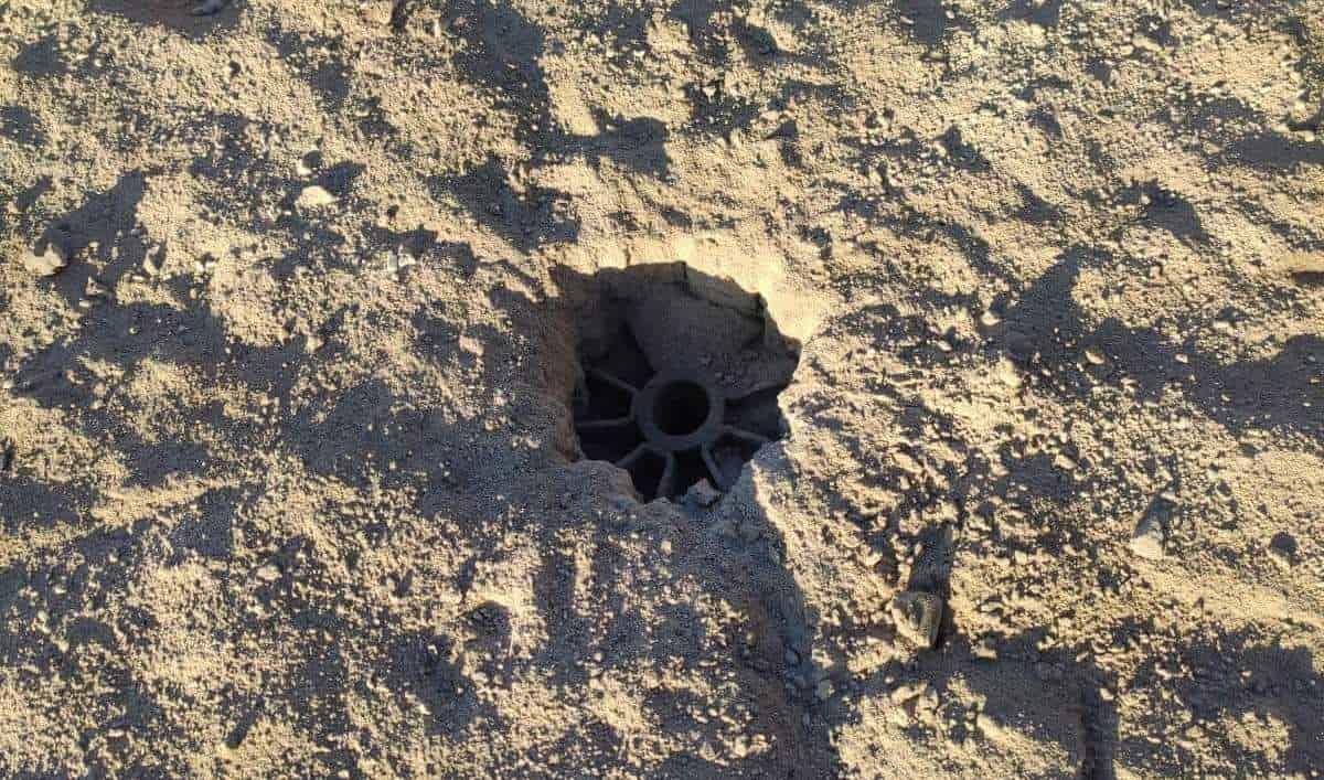 Хвостовик міни після обстрілу ДПСУ на Луганщині. 16.09.2021. Фото: МВС