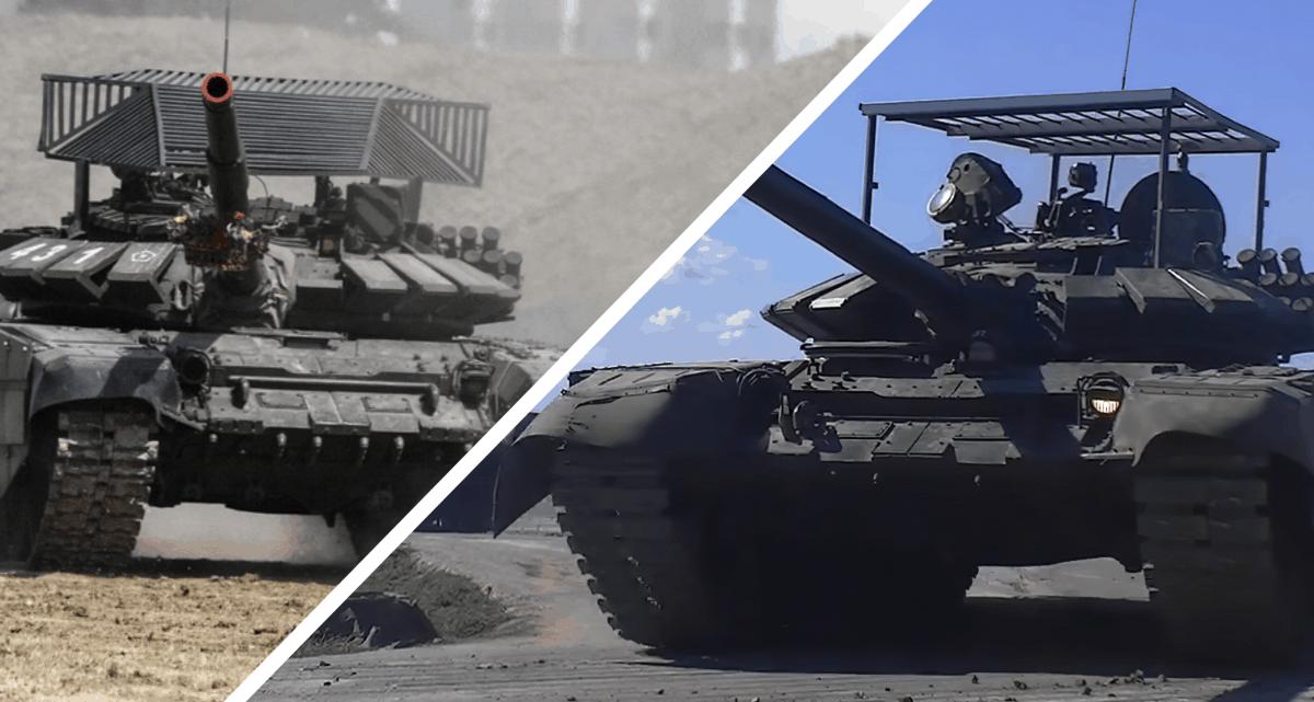 Порівняння екранів на танках Т-72Б3М з Криму та Ростовської області